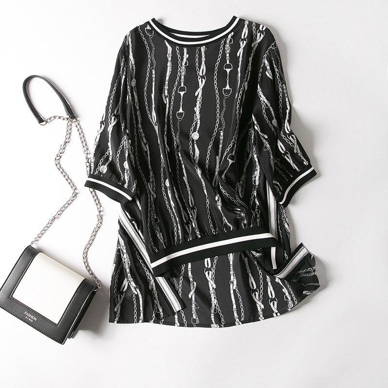 2019 spring dress round collar after vertical chain before printing silk short sleeve shirts