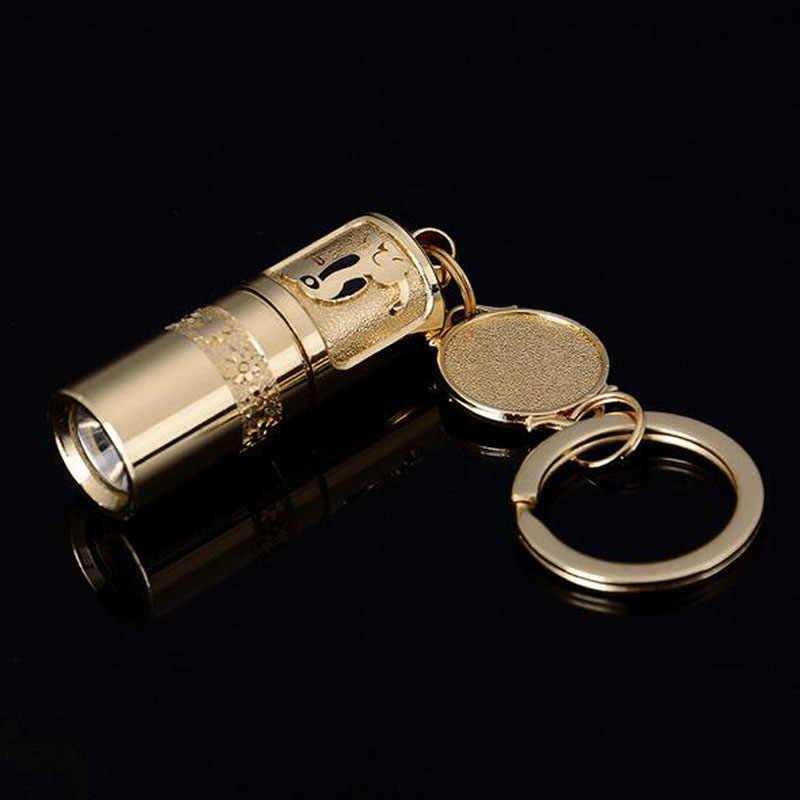 Minilinterna LED de bolsillo, linterna portátil recargable vía USB, resistente al agua, linterna blanca con llavero, linterna súper pequeño con batería