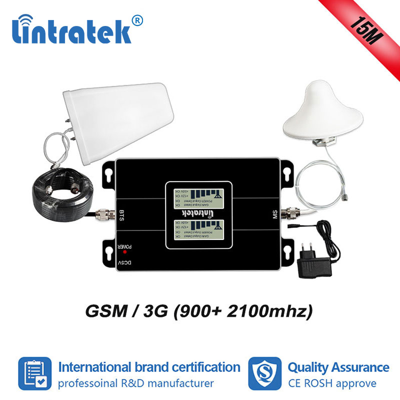 Lintratek 2G 3G 900 2100mhz Signal Booster GSM 900 WCDMA 2100 Repeater Cellular Amplifier Repeater 3g