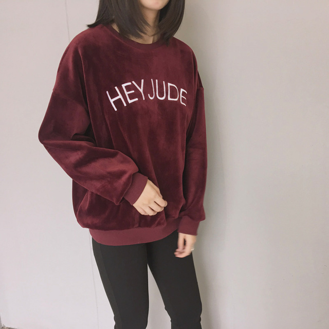 e66da178fa9e3f 2017 autumn hoodies women winter kawaii clothes new hoodie korean cute  letters embroidery HEY JUDE harajuku