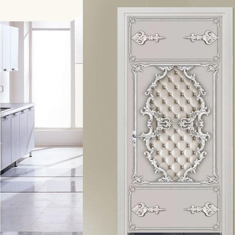European Style Gypsum Soft Roll Pattern Door Sticker Living Room Dining Room Luxury Home Decor Wallpaper Vinyl Door Decal Murals