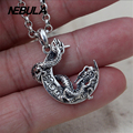 Vintage Flying Dragon And Moon pendant 100% 925 sterling silver gift necklace pendant women & men fashion jewelry Punk
