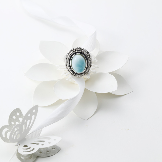 PJC Natural Gemstone 10*8mm 11.61cts Oval Shape Larimar With 0.47ct Black Spinel 925 Sterling Silver Ring