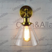 Free shipping bronze finished glass shade wall lamp E27 industrial brass sconce light AC110V/220V edison vintage retro wall lamp(China)