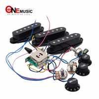 Elektrische Gitarre Pickup Kabelbaum Prewired 5-weg Schalter 2T1V SSS Pickup für ST Elektrische Gitarre Schwarz-Weiß
