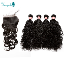 Peruvian Virgin Hair With Closure 6A Wet and Wavy Human Hair Weave Bundles With Closure 5pcs/lot 4 Bundles With Closure