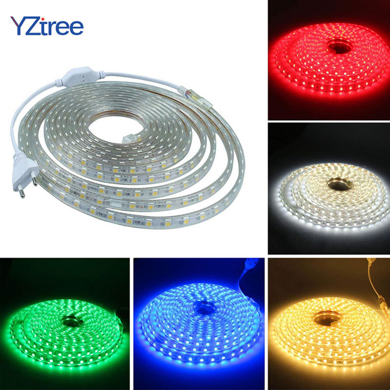 YZtree SMD 5050 LED Strip AC220V 60LEDs/m Flexible Waterproof Decor Lighting String Tape LED Lamp EU Power Plug 1M 2M 5M 10M