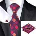 Mens Tie Burdeos Naranja A Cuadros Corbata Para Los Hombres Wedding Party Supplies corbatas Hanky Gemelos Set Negocio C-1177