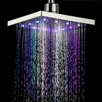 Modern LED Color Changing Water Glow Square Shape Rain Bathroom Shower Head Bathroom Hotel Bathing Romance Accessory