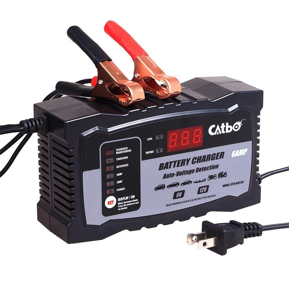 CATBO 6 V/12 V 100AH Scooter Batterie De Voiture Chargeur LED Affichage Intelligent Réparation D'impulsion Chargeur pour Tous Au Plomb acide Batterie