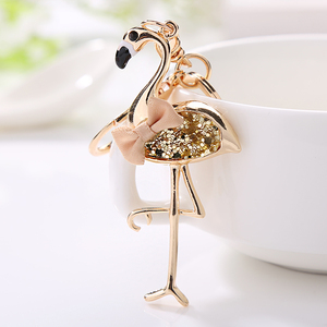 XDPQQ fashion jewelry beautiful and lovely red-crowned crane keychain ladies jewelry gift car pendant wholesale(China)
