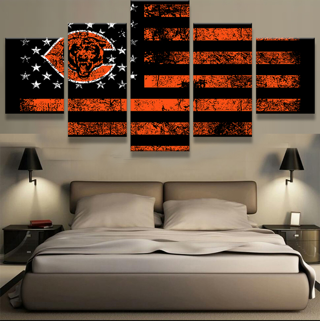 5 Pieces Chicago Bears Sports Flag Logo Canvas Poster For Sport Fan As A  Birthday Gift