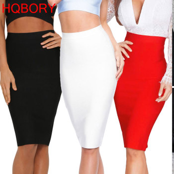 White Sexy Girl Bodycon Womens 2019 New Knee Length Midi hl Pencil Office High Waist Bandage Skirt 1