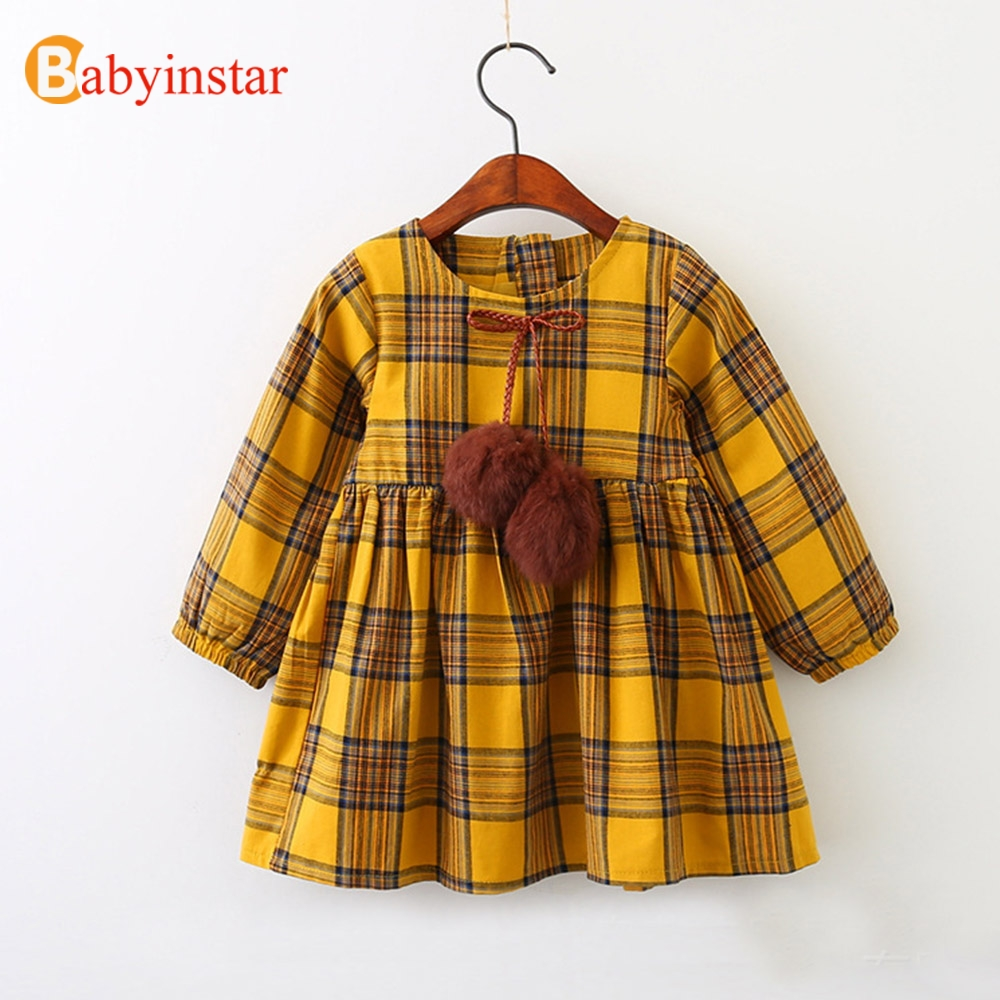Babyinstar Cute Baby Princess Dress Autumn Long Sleeve Plaid Party Dress 2018 New Casual Kids Dresses for 3-8Yrs Girls belababy baby girls preppy style dress princess children autumn double breasted cute kids casual long sleeve dresses for girls
