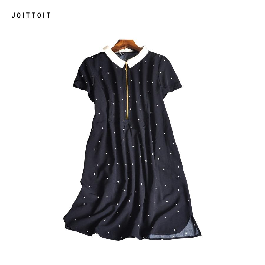 Black dress with white peter pan collar - Women Summer Dress Office Ladies White Dot Bue A Line Dresses Peter Pan Collar Short Sleeve