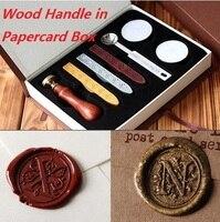 Personnaliser manche en bois sceau de cire Timbre avec Boîte de papier, Crépuscule/Salutations/Harry Potter 26 alphets Rétro D'étanchéité cire Deluxe Cadeau ensemble