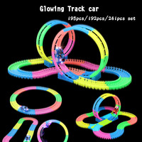 Twister Tracks 360 loop set glowing in the dark tracks slot DIY assembly toy,flexible glow track with 5LED light car for kid