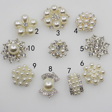 Fashion New 10pc Rhinestone Pearl Buttons Silver Wedding Decoration DIY Flatback Clothing Scrapbooking Crafts Accessories