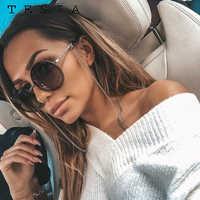 Marque ronde lunettes de soleil femmes luxe sans monture Feamle nuances Europe populaire Ins lunettes de soleil lunettes de sol femme