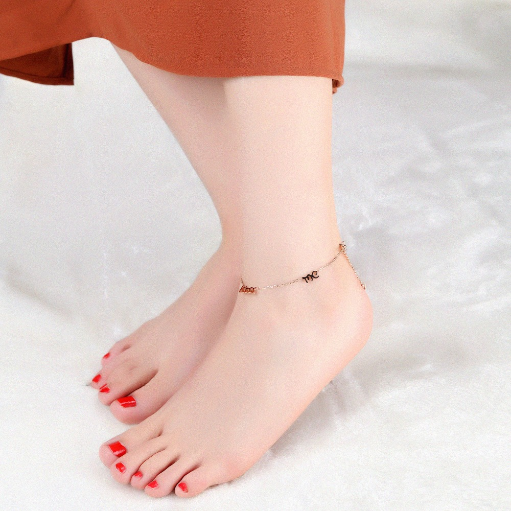 681dae54ed Fashion KISS ME Anklets Bracelet For Women Rose Gold Color Girl Female  Stainless Steel Ankle Foot Chain Jewelry-in Anklets from Jewelry &  Accessories on ...