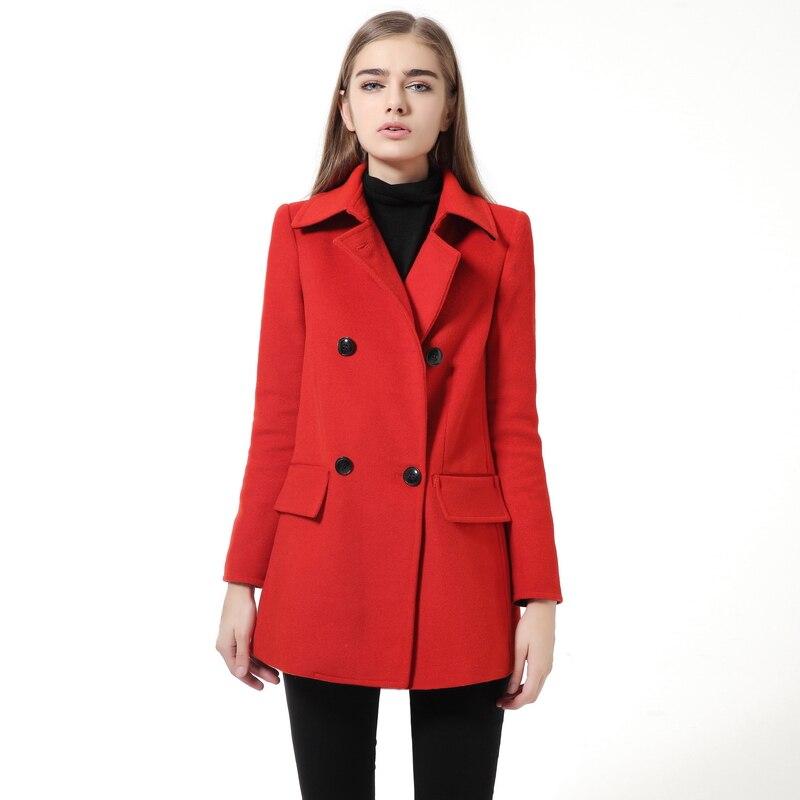 Winter Jacket Women Red Wool Coat 2016 New Manteau Femme Slim Long Sleeve Cloak Woolen Winter