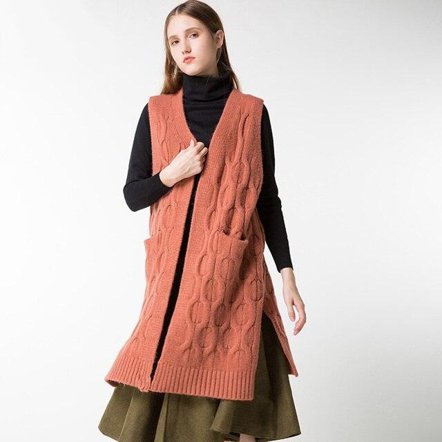 Women Knitted Sleeveless Sweater Vest Female Long Cardigans ...