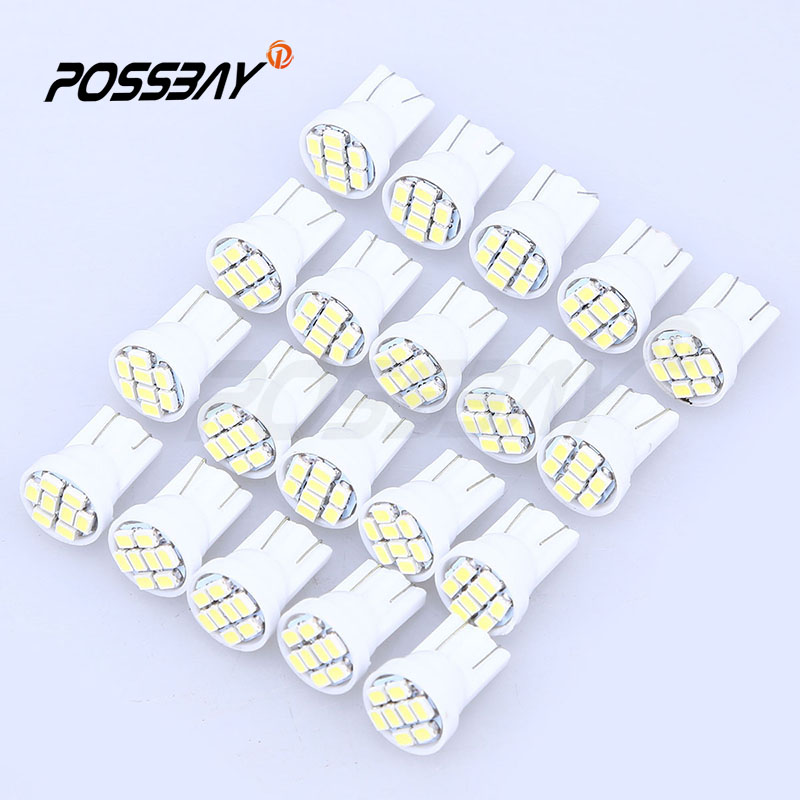 20 Pcs Micro 8 Smd T10 1206 Car Led Light Auto Interior Dome White