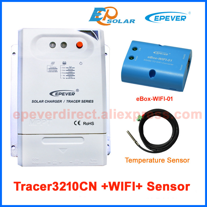 Tracer3210CN 30A 30amps EPEVER Solar battery Charger 12V/24V system work wifi eBOX android Phone APP temperature sensor solar charger controller manufactures epever epsolar ls3024b 30a 30amps wifi ebox phone android system app application