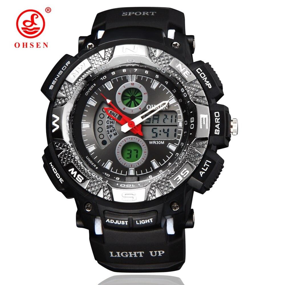 Homens Boy Sports Relógios Outdoor Casual Vestido relógio Quartz Digital LED Multifuncional Waterproof Popular militar do exército de pulso