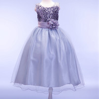 Retail New Hot Sequin Flower Girl Dresses Long Tail Princess Pageant For Kid First Communion Dresses