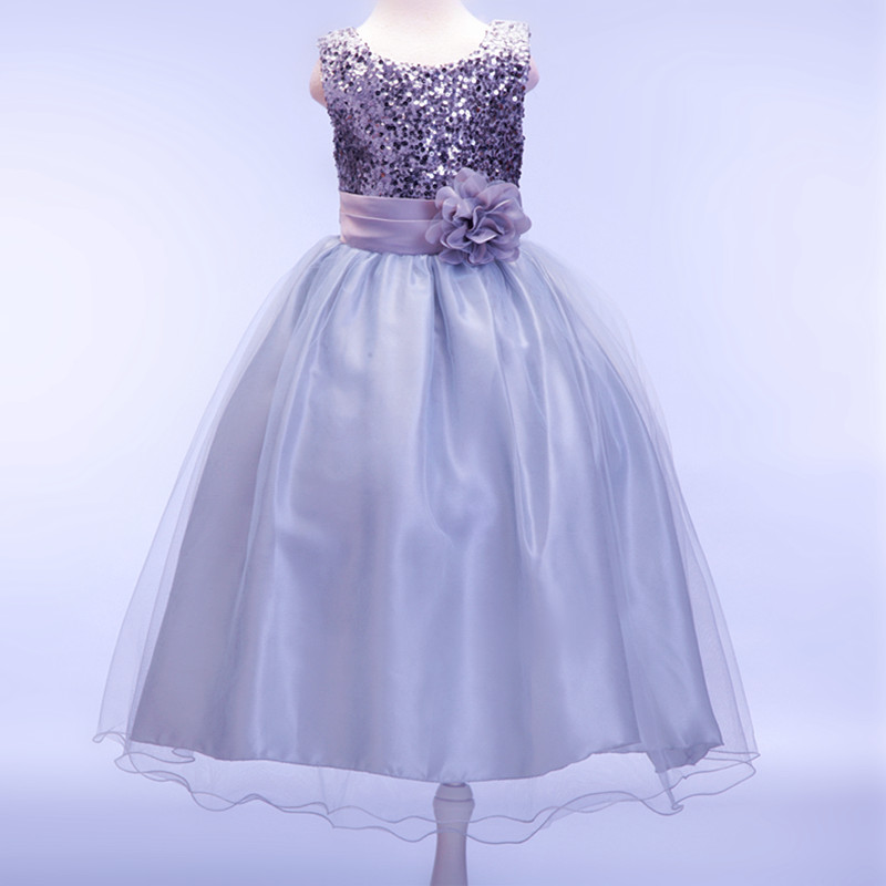 Retail Elegant Beading Sequined Girls Wedding Dress With Ribbon Belt Appliques Girls Celebrity Long Communion Dress LP-55
