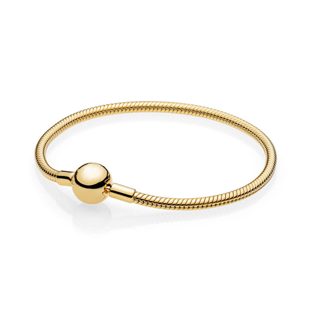 NEW 100% 925 Sterling Silver New Classic Circular Letter Logo Gold SHINE MOMENTS SMOOTH Bracelet Basic Snake BraceletNEW 100% 925 Sterling Silver New Classic Circular Letter Logo Gold SHINE MOMENTS SMOOTH Bracelet Basic Snake Bracelet