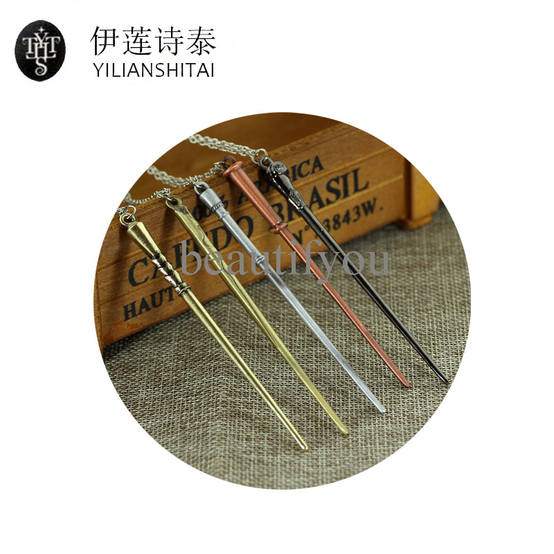 Wholesale Factory Direct Supply Hermione Dumbledore Magic Wand Alloy Pendent Necklace Movie Jewelry Gift For Fans Vintage