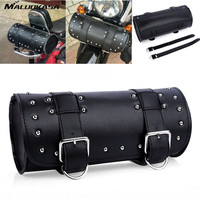 MALUOKASA Motorcycle Tool Pouch Bag Scooter Barrel Shape Black Leather Saddle Universal Luggage Borsello Motorbike Free
