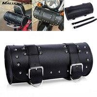 MALUOKASA Motorcycle Tool Pouch Bag Scooter Barrel Shape Black Leather Saddle Universal Luggage Borsello Motorbike Free