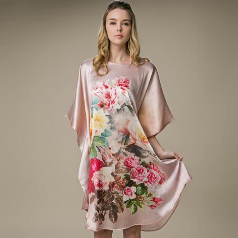 100% slik clothing women dresses mulberry silk dresses print style maternity dresses women summer dress 1673 цена