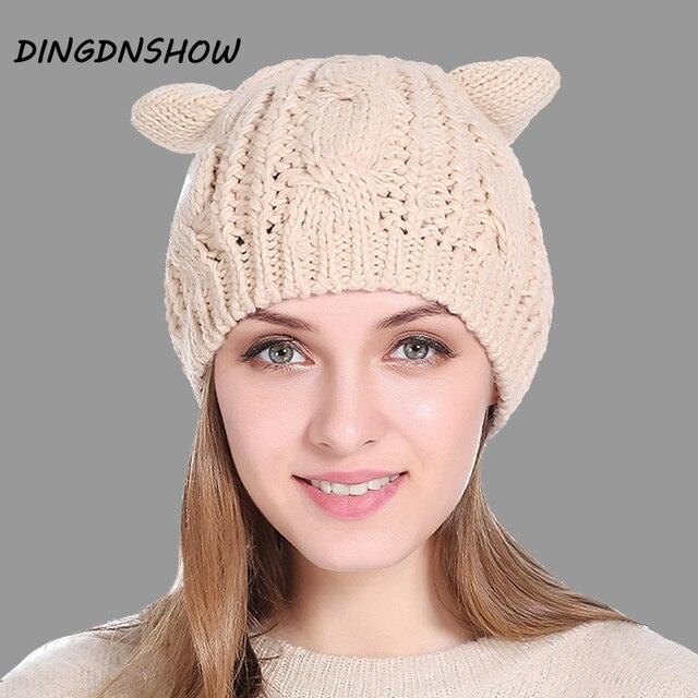 DINGDNSHOW  Brand Beanies Hat Cotton Adult Cartoon Ear Winter Cap Warm  Lady Knitted Hat 2018 Women Bonnet Hat 46768eddf4d9