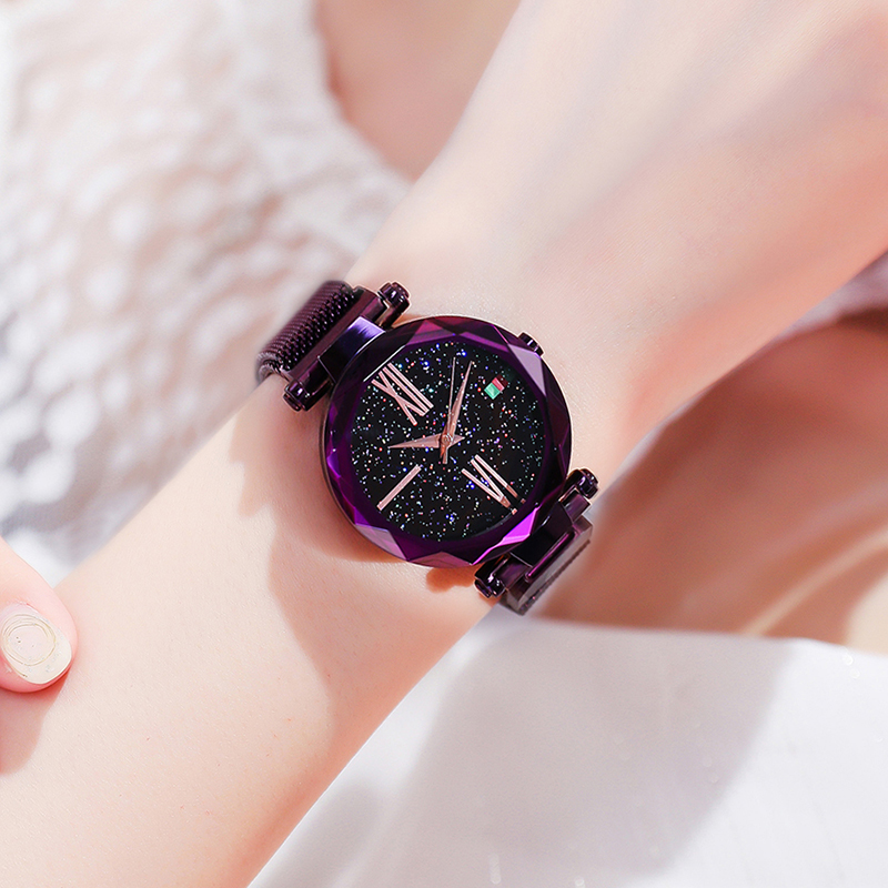 SUNKTA Brand Fashion Four-color Mesh Band Creative Starry Sky Wrist Watch Casual Women Quartz Watches Gift Relogio Feminino+Box