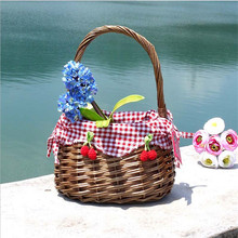 Willow Wicker Picnic Basket Shopping Hamper and Handle Handmade Rattan Storage Steamed Cassette