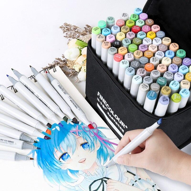 FINECOLOUR 36/48/60/72 couleurs personnalisées artiste marqueur de croquis à Double tête Set marqueurs d'art Manga à base d'alcool pour fournitures de conception