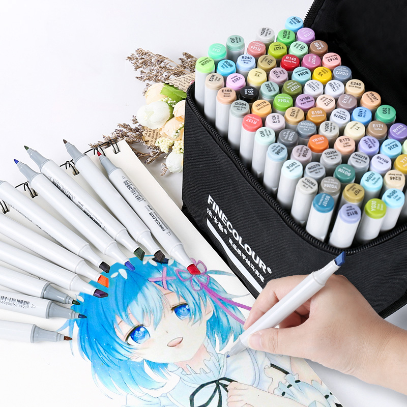 FINECOLOUR 36/48/60/72 Custom Colors Artist Double Headed Sketch Marker Set Alcohol Based Manga Art Markers For Design Supplies