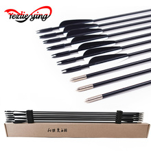 6/12/24pcs Archery Bow Fiberglass Arrow 30 6mm Traditional Competed with Plastic Feathers for Compound & Recurve bow