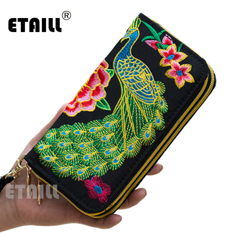 2016 Double Zipper Ethnic Boho Indian Thailand Embroidered Women Wallets Canvas Long Wallet Floral Purse Famous Brand Logo Purse ethnic embroidered black cami dress for women
