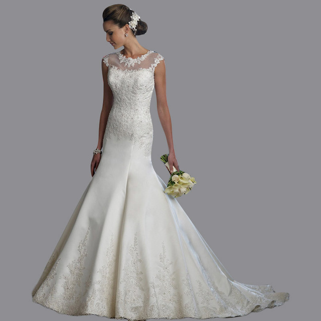 Free Shipping Fishtail Boat Neck Court Train Satin Made To Order Wedding Dresses From China With