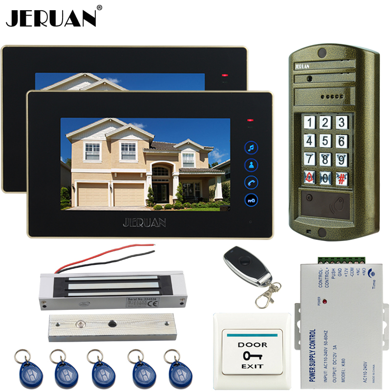 JERUAN NEW 7`` TOUCH KEY Video Door Phone Intercom System kit Metal waterproof password HD Mini Camera +180kg Magentic lock 1V2 jeruan wired 7 touch key video doorphone intercom system kit waterproof touch key password keypad camera 180kg magnetic lock