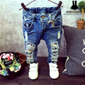 Fashion Boys Jeans 2016 Winter Jeans Kids Pants Cartoon Pettern Print Design Children's Denim Trousers Kids Dark Blue Pants