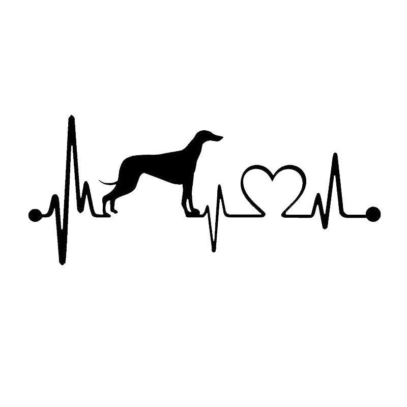 Оптовая 5шт,10шт,17.8*7,6 см сердцебиение борзая собака автомобиль наклейки винил наклейка стайлинг автомобиля бампер аксессуары