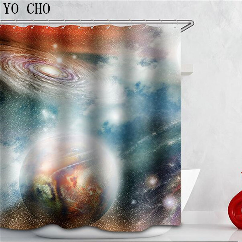 Hot 3D Starry sky Pattern Shower Curtain With 12 Hooks Bathroom accessories Use geometri ...