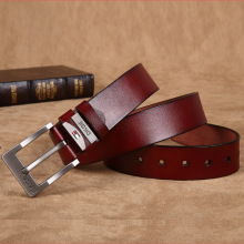 New Genuine Leather Metal Pin Buckle Belt For Men