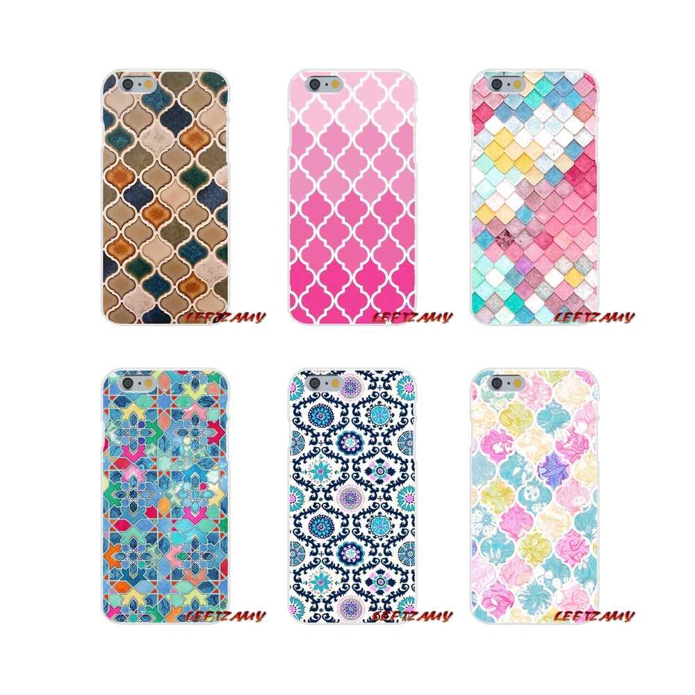 Милые пастельные плитка с марокканским узором мозаика аксессуары телефон оболочки чехлы для iPhone X XR XS MAX 4 4S 5 5S 5C SE 6 6S 7 8 Plus